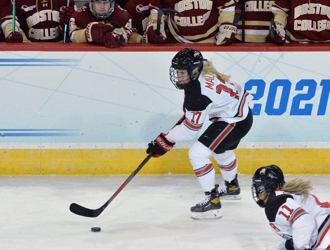 Ohio State senior Emma Maltais moves against Boston College during an NCAA Frozen Four quarterfinal game Tuesday in Erie, Pa.