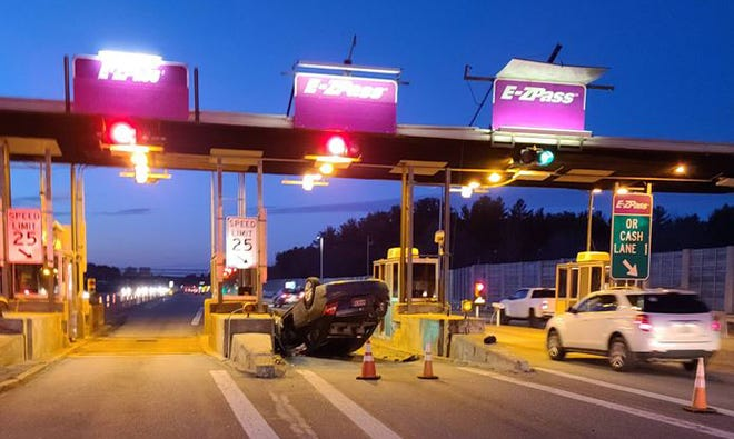A rollover crash involving a 2012 Honda Civic at the Dover toll plaza on Spaulding Turnpike southbound was reported at 5:57 a.m. Wednesday, March 17, 2021, according to police.