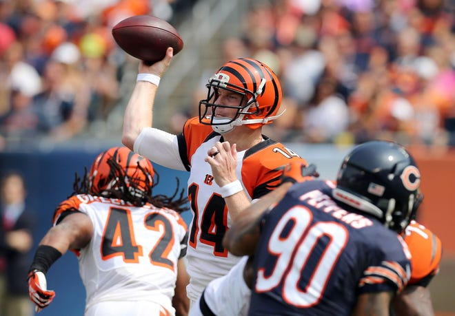 Cincinnati Bengals quarterback Andy Dalton throws a pass against the Chicago Bears on Sept. 8, 2013, at Soldier Field.