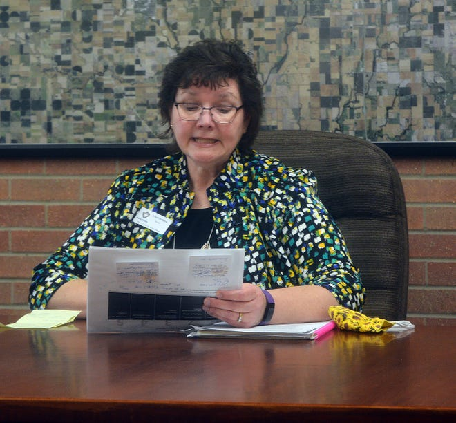 Harvey County Health Department director Lynnette Redington conducts the weekly COVID-19 briefing.