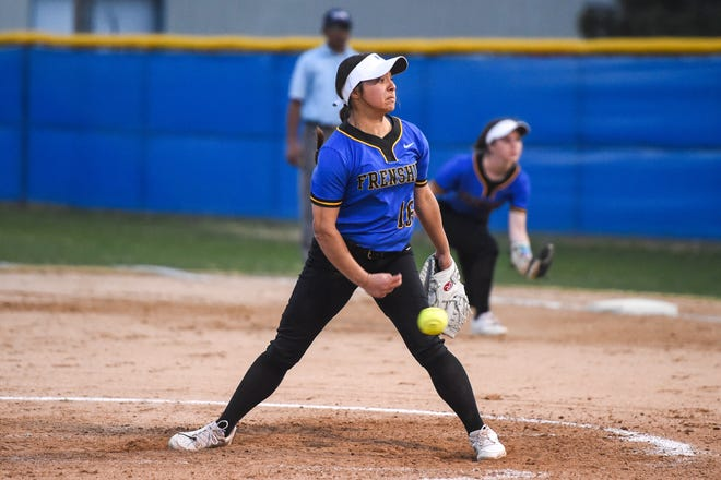Frenship's Erin Boles (16) throws a pitch during the softball game against Midland Lee on Tuesday March 16, 2021 at Tiger Field in Wolfforth, Texas.