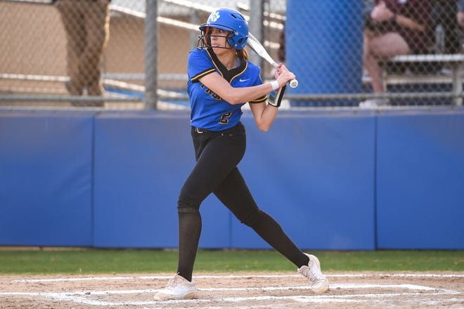 Frenship's Makayla Garcia (2) gets a running start on a swing during the softball game against Midland Lee on Tuesday March 16, 2021 at Tiger Field in Wolfforth, Texas.