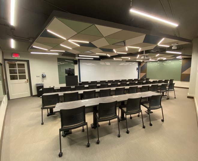 Room 15 of the Mathematics and Statistics building at Texas Tech is pictured after a facelift as part of the Presidential Forum Renovations project.