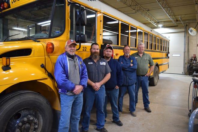 Pictured: Camdenton District Transportation Director Gary Cuendet, mechanics Justin Austin, Jeffrey Griffin, Joseph Elliott, and head mechanic Terry McDaniel