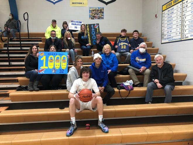 Jefferson senior Jackson Barath had many family members on hand to see him reach 1,000 career points Tuesday night. The group included Michelle Donbrosky, Diane Donbrosky, Jeff Donbrosky, Luanne Maciolek, Justin Kegley, Tracy Kegley, Addison White, Dawson West, Jason Barath and Jacqueline Donbrosky (holding poster board), Janice Gutierrez, Dres Ditto (holding jersey), Kyle Rowe, Juvenal Gutierrez, and Gary Robinson.