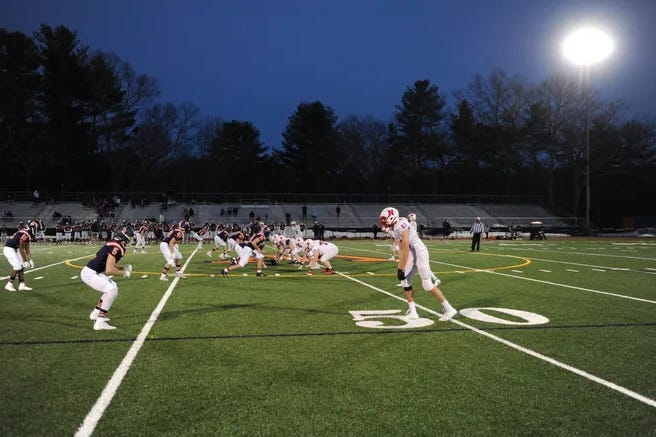 The Natick-Framingham high school football game that was scheduled for Friday has been postponed to April 15. The Natick team is in quarantine after a player tested positive for COVID-19.
