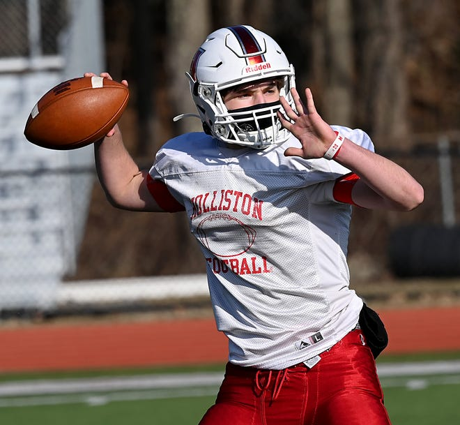 Holliston High quarterback Kevin Balewicz throws a pass during practice on March 17, 2021. Ten days later, Balewicz hurt himself in a game against Norwood.