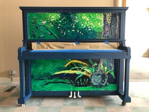 "Hudson's new community piano is named ""Jeremiah,"" for the bullfrog from the Three Dog Night song ""Joy to the World."""