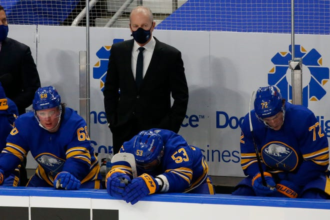 Buffalo Sabres head coach Ralph Krueger looks on during the third period of a game March 13 in Buffalo. The Sabres fired coach Ralph Krueger on Wednesday.