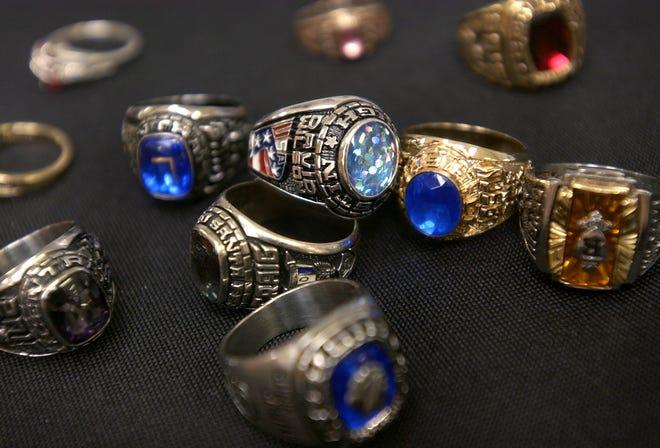 Class rings on display at Edmond Santa Fe.