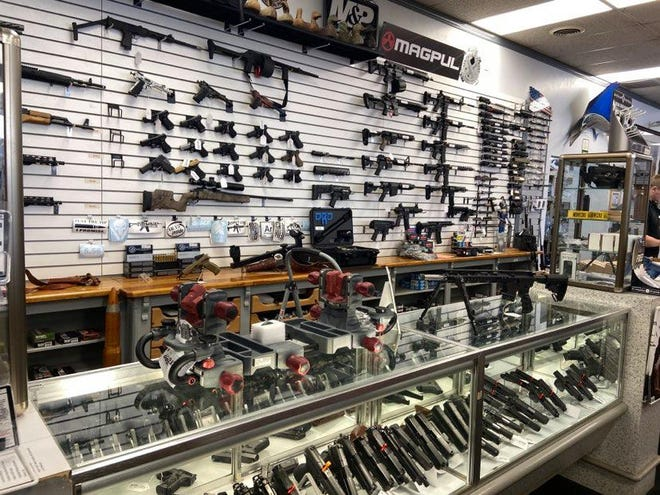 A&B Pawn in Van Buren displays a selection of firearms. Crawford County Quorum Court has approved an ordinance securing the Second Amendment rights of the community.