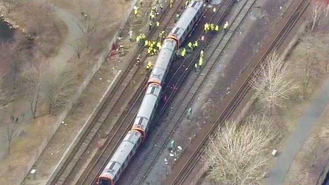 Aerial view of the Orange Line derailment.