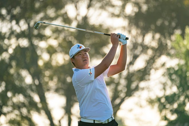 Defending Honda Classic champion Sungjae Im tees off during Wednesday's Pro-Am at PGA National.