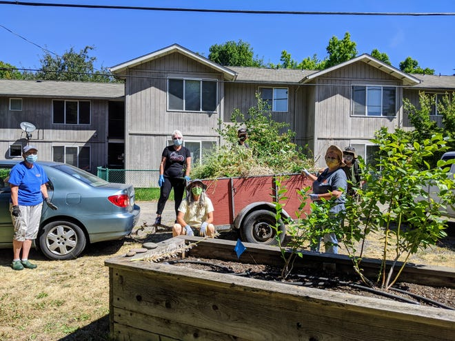 Oregon State University Master Gardener students take a load off from planting trees.