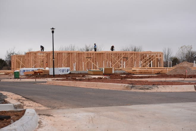 The Grove Retirement Village is finally showing some progress, as some framing has started just south of Shawnee Middle School.