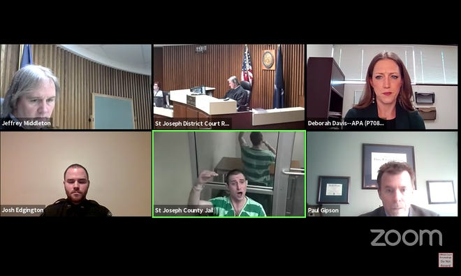 Coby Harris makes protests Tuesday to Judge Jeffrey Middleton during a court hearing, in this screen capture from Middleton's official social media channel.