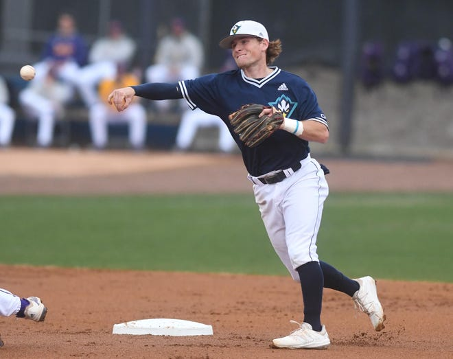 Taber Mongero has started every game this season at shortstop for UNCW after transferring into the program. He's the son of former Seahawk Trent Mongero, the 1989 CAA Player of the Year. [MATT BORN/STARNEWS]