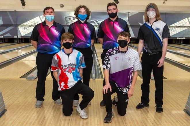 2021 Boys All-City Bowling Team. Front row (left to right): Aidan VanMetre, Shawnee Heights, and Zach Phillips, Topeka West. Back row: DJ Birkenbaugh, Seaman; Ethan Burns, Seaman; Jack Easum, Seaman, and Jacob Morgan, Washburn Rural.