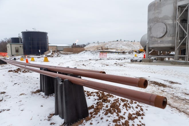 Pipes are placed above ground before being buried at the Oakland Wastewater Facility, 1115 N.E. Poplar St., as part of a pipeline with Biogas to transport gases for sale.