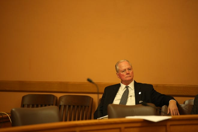 Senate Majority Leader Gene Suellentrop, R-Wichita, sits in a caucus meeting Tuesday. Suellentrop was arrested Tuesday for allegedly driving under the influence and attempting to flee from law enforcement.