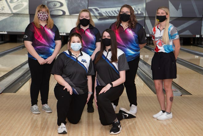 2021 All-City Girls Bowling team. Front row (left to right): Kaitlyn Doyal, Washburn Rural and Hannah Casto, Washburn Rural. Back row (L to R): Makenzie Millard, Seaman; Katie Price, Seaman; Kaitlyn Evans, Seaman and Brylee Prockish, Shawnee Heights.