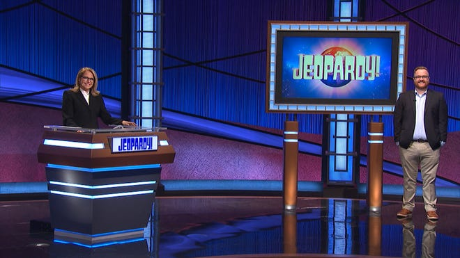 """Guest host Katie Couric and Brendan Sargent on the set of """"Jeopardy!"""""""