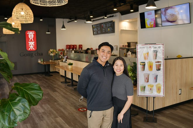 WORCESTER - Jason and Hannah Vuong, owners of Gong Cha which is beside the Hanover Theatre on Wednesday, March 17, 2021.
