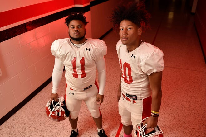Seventy-First High School running backs, sophomore Jayden Shotwell and freshman Anthony Quinn, combined for seven touchdowns and 421 yards rushing in the Falcons' win over Lumberton last week.