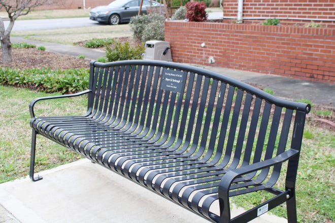 This bench placed in memory of former Centre Mayor Ed Yarbrough by his children is one of several that have been installed along a six-block route extending from Centre City Hall to the First United Methodist Church.