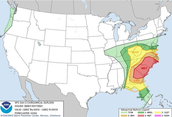 The National Weather Service is expecting sever weather over much of the southeastern US Thursday. Alamance County and central NC in general could see damaging winds, hail or tornadoes on top of the rainfall. [SUBMITTED PHOTO]