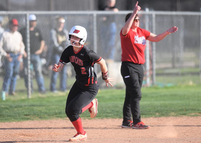 Ballinger catcher Jenna Battle rounds third base against Clyde in a District 6-3A softball game Tuesday, March 16, 2021, in Clyde.