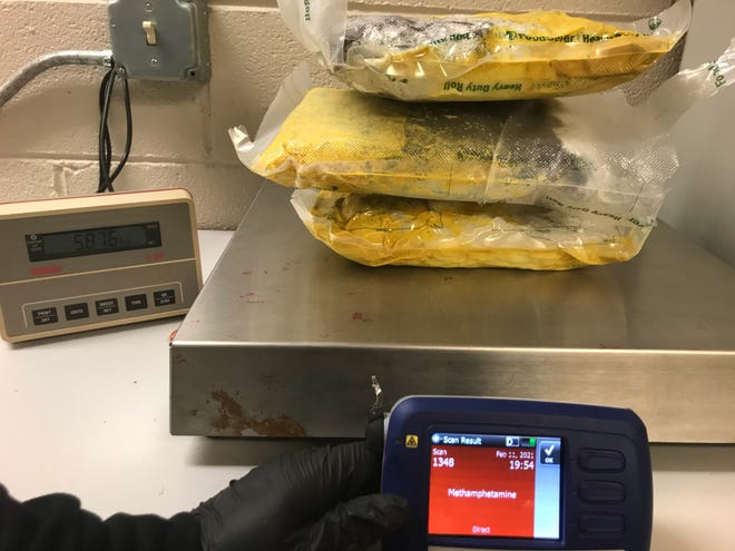 The Buncombe County Sheriff's Office announced March 17 it had seized 13 pounds of methamphetamine and made two arrests in the case. The Buncombe County Anti-Crime Task Force worked with the South Carolina Law Enforcement Division on the case.