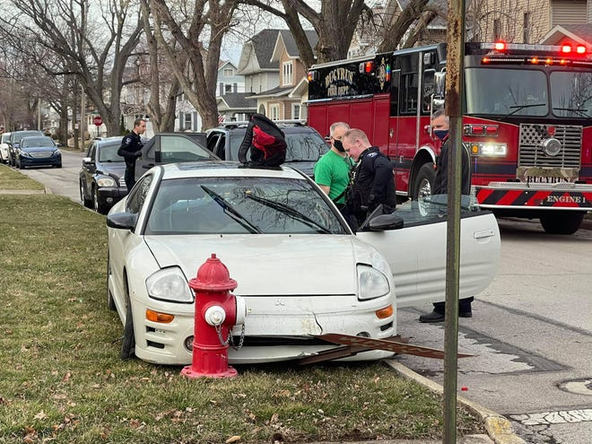 A Marion man was taken to the Crawford County Jail on Tuesday evening after crashing into a street sign and fire hydrant.