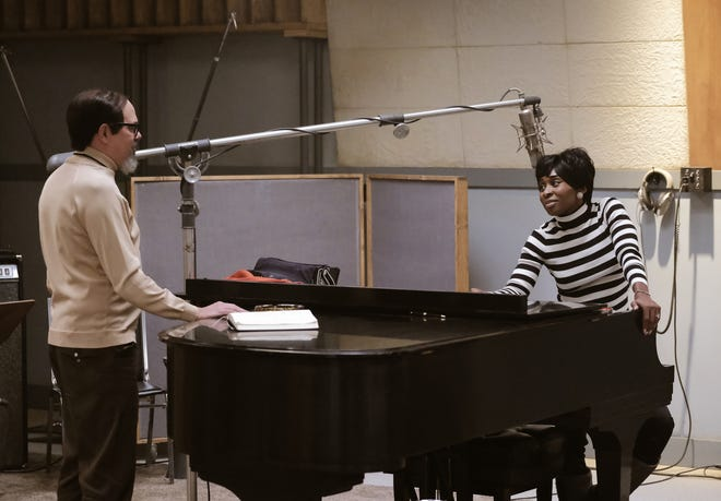 "In a scene from ""Genius: Aretha,"" producer Jerry Wexler (left), played by David Cross, talks with Aretha Franklin, played by Cynthia Erivo, in the studio."
