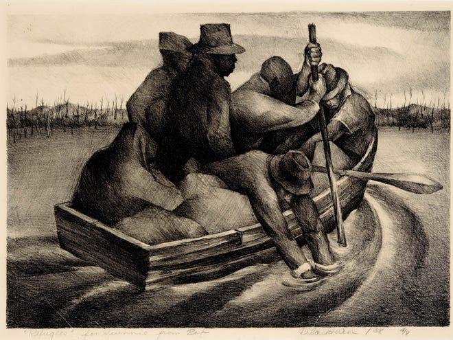 Robert Blackburn (Amerika, 1920–2003). Refugees (alias People in a Boat), 1938. Litograf; 11 1/8 x 15 ¾ in. Edisi 4. Koleksi Museum Seni NCCU, Universitas Pusat Carolina Utara, Hadiah Christopher Maxey.