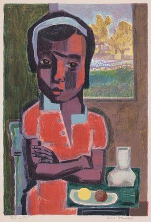 Robert Blackburn (Amerika, 1920–2003). Gadis Berbaju Merah, 1950. Litograf Warna; 18 ¼ x 12 ½ in. Koleksi Yayasan Keluarga Petrucci dari Seni Afrika Amerika
