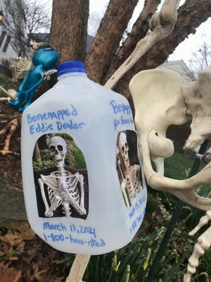 "This milk carton bears the likenesses of missing skeletons ""Eddie Deader"" and ""Amelia Scarehart"" on the lawn of their Evansville home. The skeletons have been missing since Saturday, March 12."