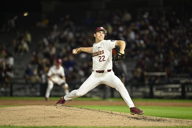 Freshman Carson Montgomery throws a pitch during Florida State's 10-2 win vs. rival Florida at Dick Howser Stadium in Tallahassee, FL., on March 16, 2021.