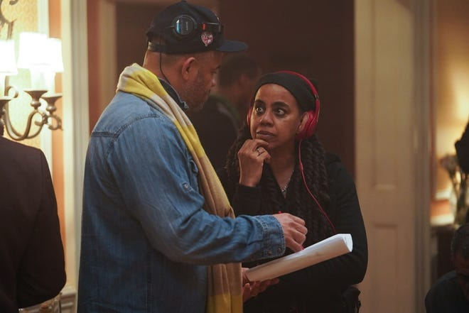 Executive Producer and Director Anthony Hemingway, left,   with Executive Producer, Writer and Showrunner Suzan-Lori Parks of GENIUS: ARETHA.