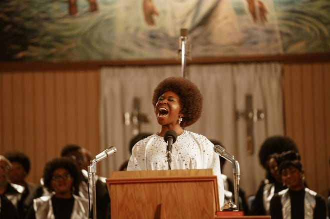 "In ""Genius: Aretha,"" Aretha Franklin, played by Cynthia Erivo, records ""Amazing Grace"" at New Temple Missionary Baptist Church in Los Angeles."