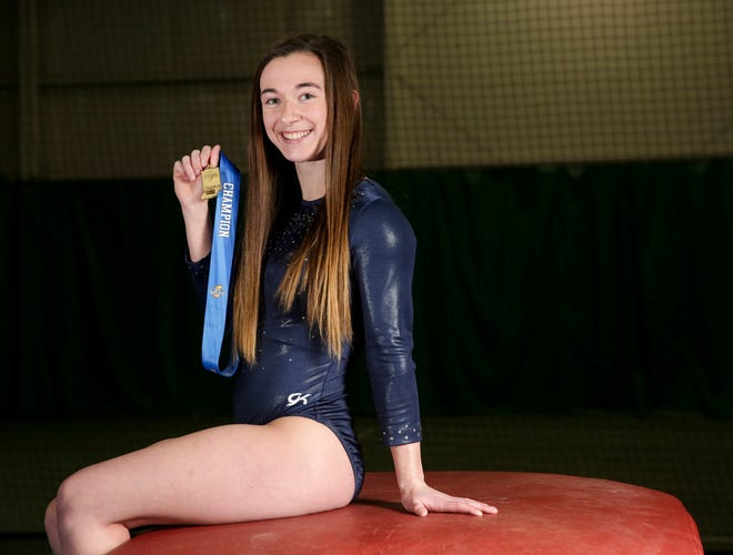 Harrison junior Haiven Gipson poses for a photo with her first place medal after repeating as the IHSAA gymnastics vault champion, Tuesday, March 16, 2021 in Lafayette.