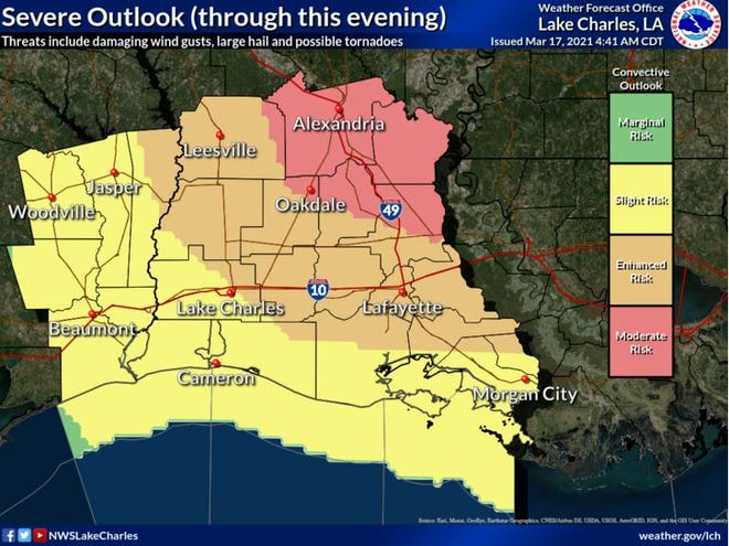 Severe weather is expected to move through Louisiana on March 17, 2021.