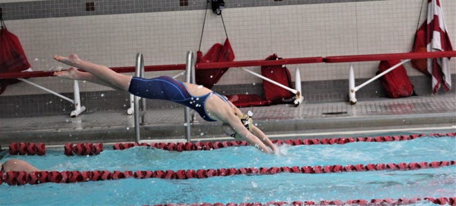 Lancaster junior Mia Hensley finished first in the 200 IM and 100 butterfly to help lead the Lady Gales to their first ever Ohio Capital Conference-Buckeye Division championship.