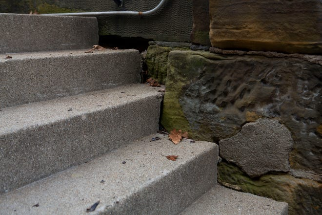 Shown here are steps in need or repair at the Fairfield County Courthouse at Main and High streets. The county commissioners are considering a major renovation of the building.
