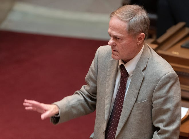 State Sen. Robert Cowles, R-Green Bay, speaks                                            during the state Senate session Tuesday, March 16, 2021, at the Capitol in Madison, Wis.