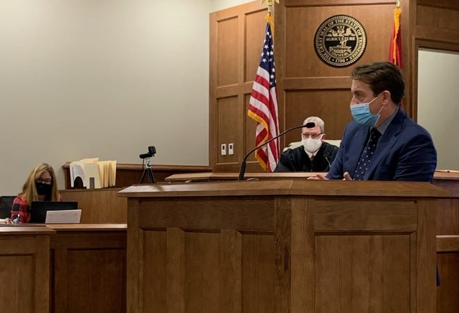 Pictured are, from left, Dickson County Circuit Court Clerk Pam Lewis, Judge Larry Wallace and District Attorney Ray Crouch at the new Dickson County Justice Center during the trial of Deirdre Rich.