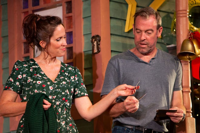 """Ian and Karen Peakes rehearse scenes from the Glufshore Playhouse production of """"Maytag Virgin"""", directed by Jeffery Binder, Tuesday, March 16, 2021, at the Norris Center in Naples."""