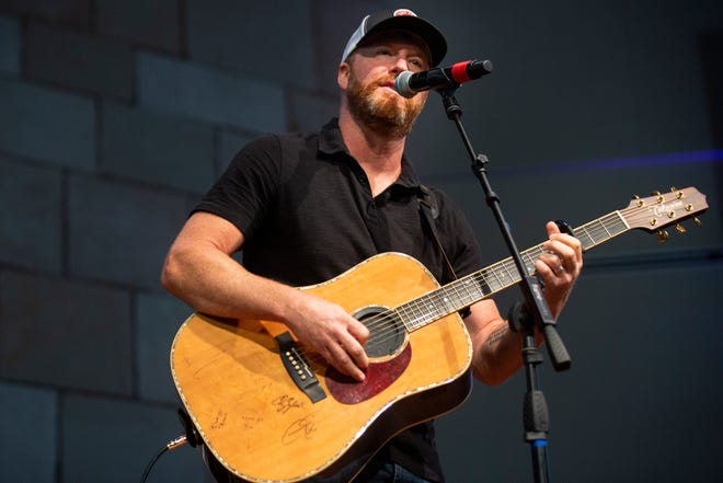 Ben Allen, country music singer and former contestant on The Voice, performs for students and staff at The Village School of Naples on Wednesday, March 17, 2021.