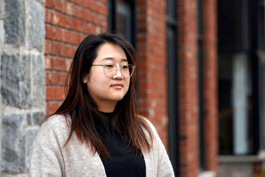 Grace Kim, owner of New Splendid Nail and Spa in Fort Lee, speaks on dealing with the uptick in hate crimes against Asian-Americans in front of her business on Wednesday, March 17, 2021.