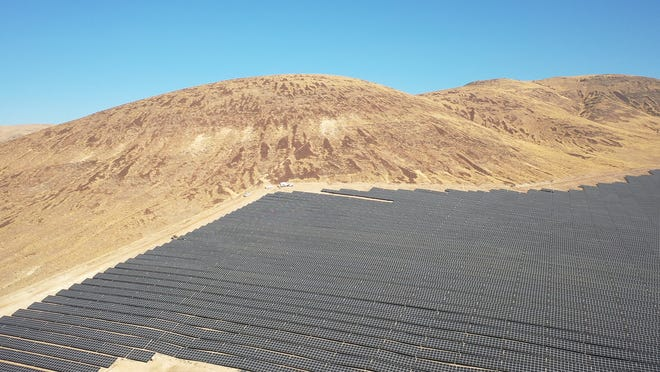 A drone shot of Apple's 180-acre Turquoise Solar Project at Reno Technology Park.